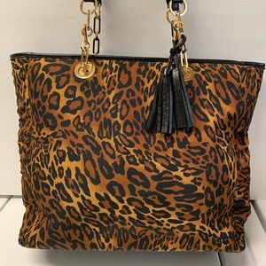LEOPARD FABRIC PRINT w/Leather Trim by CHICO'S